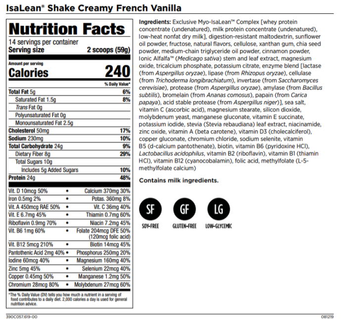 IsaLean Shake Nutrition Facts and Ingredients Label