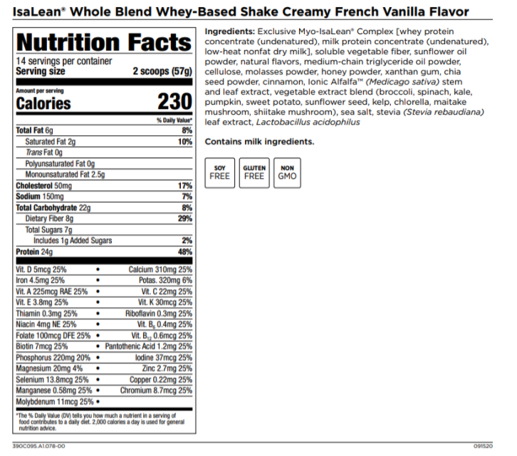 IsaLean Whole Blend Shake Nutrition Facts and Ingredients Label
