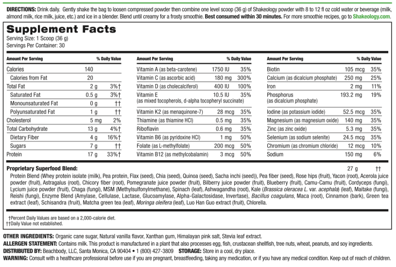 Shakeology Nutrition Facts Label and Ingredients