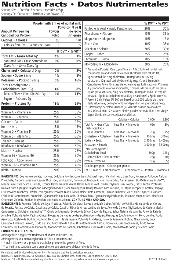 Herbalife Nutrition Facts and Ingredients