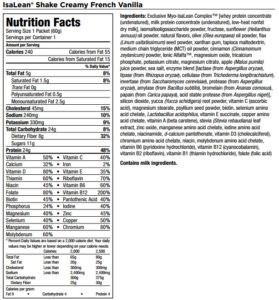 Isagenix Shakes Nutrition Facts and Ingredients