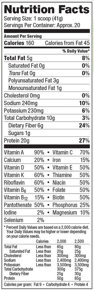 Vega One Nutrition Facts Label